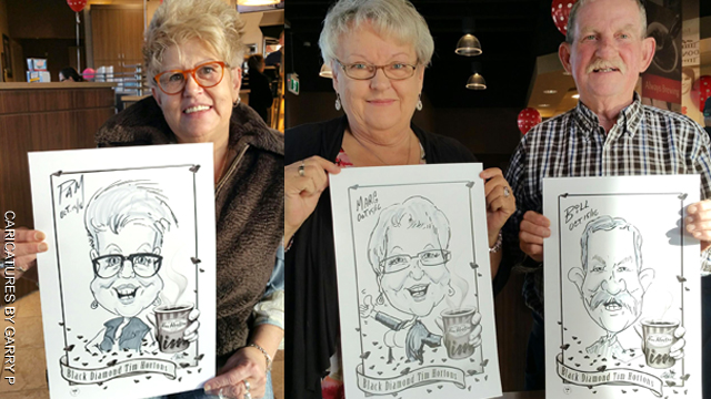 Photos of party caricatures and illustrations
